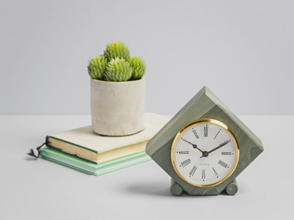 Cropped Diamond Clock with Round Supports - Coniston