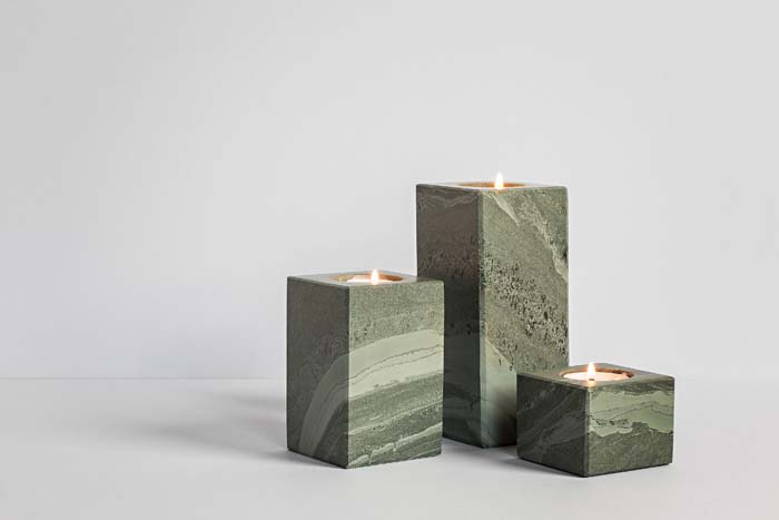 Slate Homeware, Column Tea Light Holders (Set of Three) - Coniston Stonecrafts