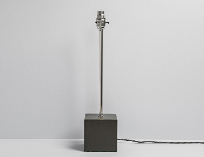 Square Polished Slate Lamp with Long Neck Nickel Fittings - Coniston Stonecrafts