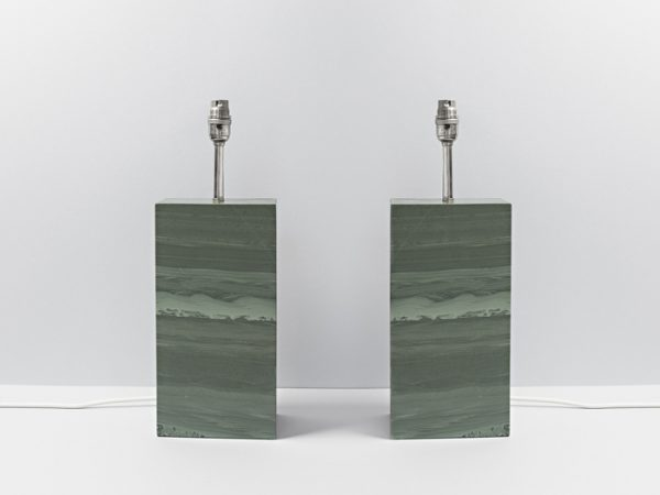 Two Standard Polished Slate Lamps - Coniston Stonecrafts