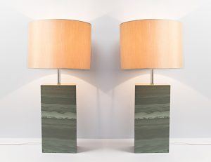Two Standard Polished Slate Lamps - Slate Lamps - Coniston Stonecrafts