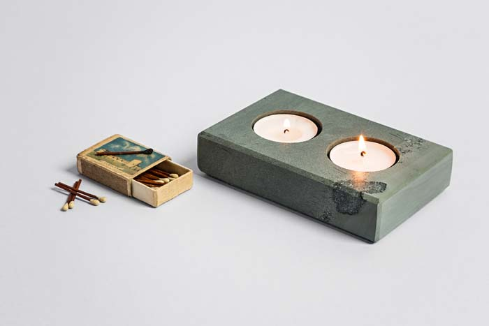 Double Tea Light Holder - Slate Homeware - Coniston Stonecrafts