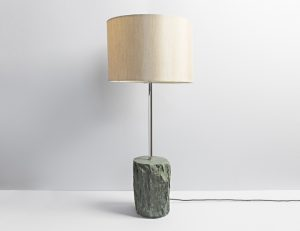 Rustic Slate Lamp with Long Neck Nickel Fittings - Coniston Stonecrafts
